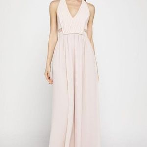 BCBG Generation Sleeveless Lace-Inset Halter Gown